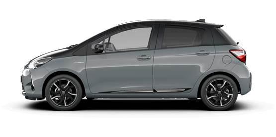 Foto della Toyota Yaris Hybrid 2018 Grey edition dal fianco